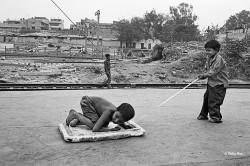Children from the nearby slum of Sadar Bazar Station.